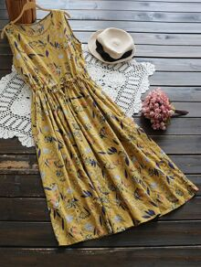 Floral Print Random Drawstring Waist Tank Dress