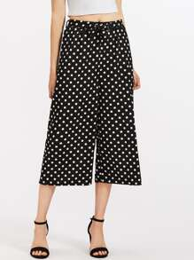 Polka Dot Self Tie Wide Leg Pants