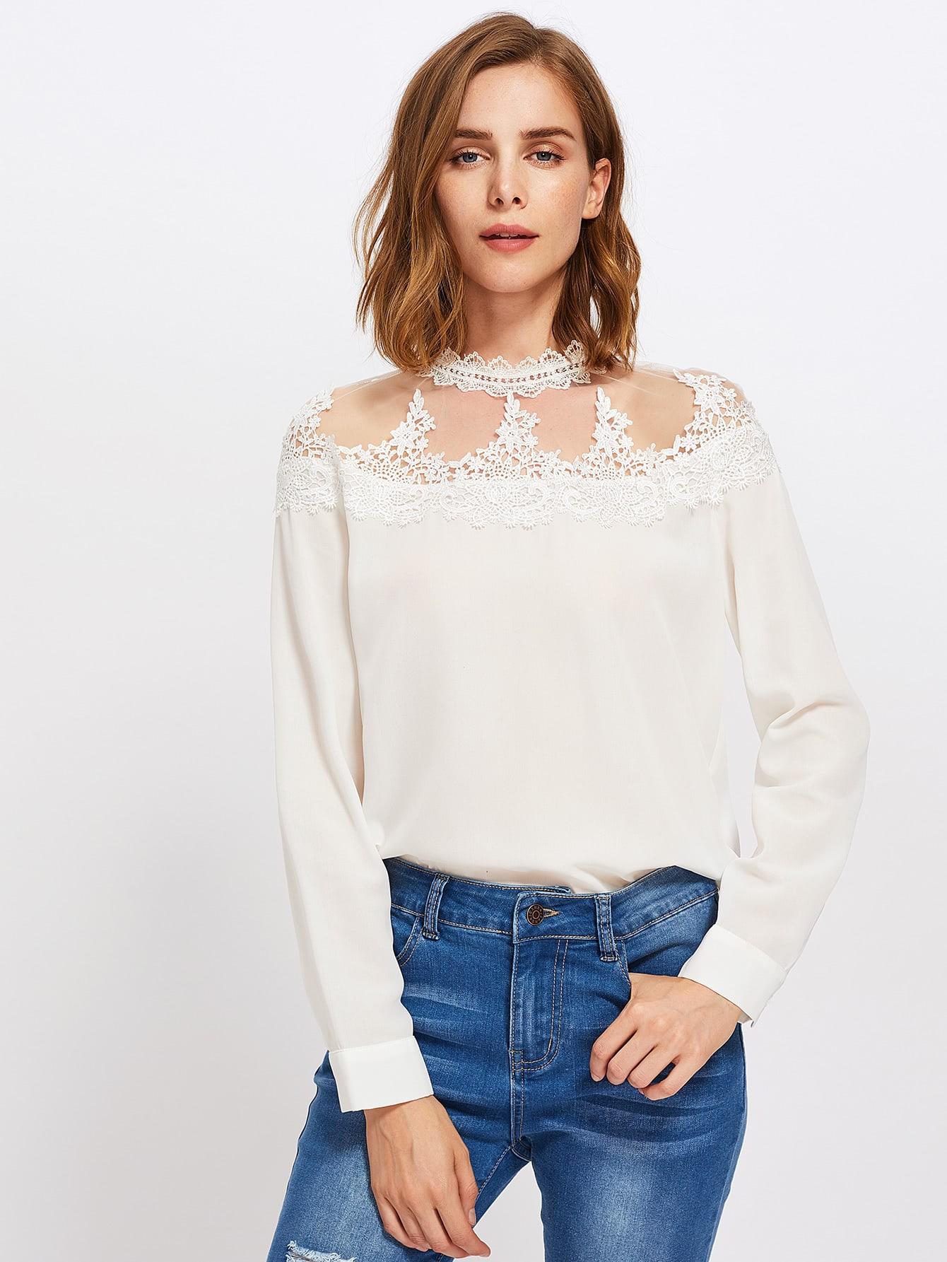Купить Модная блуза с аппликацией и сетчатой вставкой, Zoranaa, SheIn