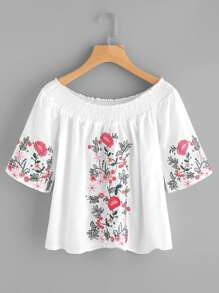 Shirred Off The Shoulder Embroidered Top