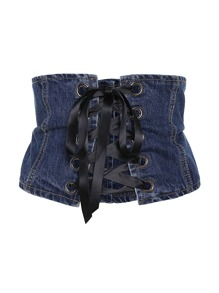 Eyelet Lace Up Denim Corset