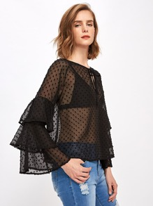 Tiered Flute Sleeve Keyhole Front Dobby Mesh Blouse