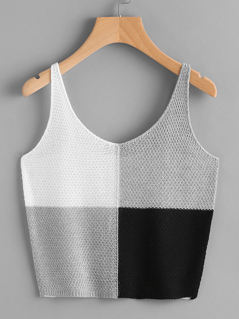 Color Block Knit Tank Top