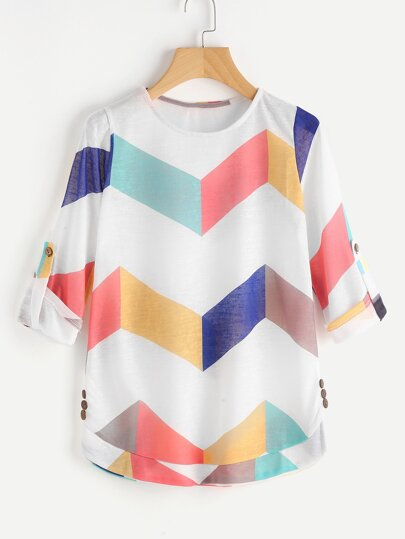 Chevron Pattern Rolled Sleeve Knit Tee