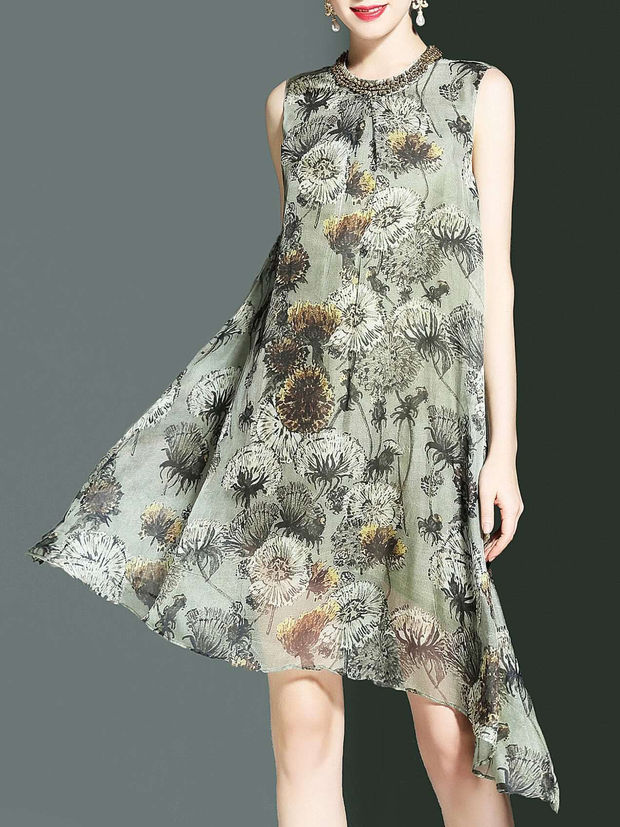 Фото Beading Neck Floral Asymmetric Dress. Купить с доставкой
