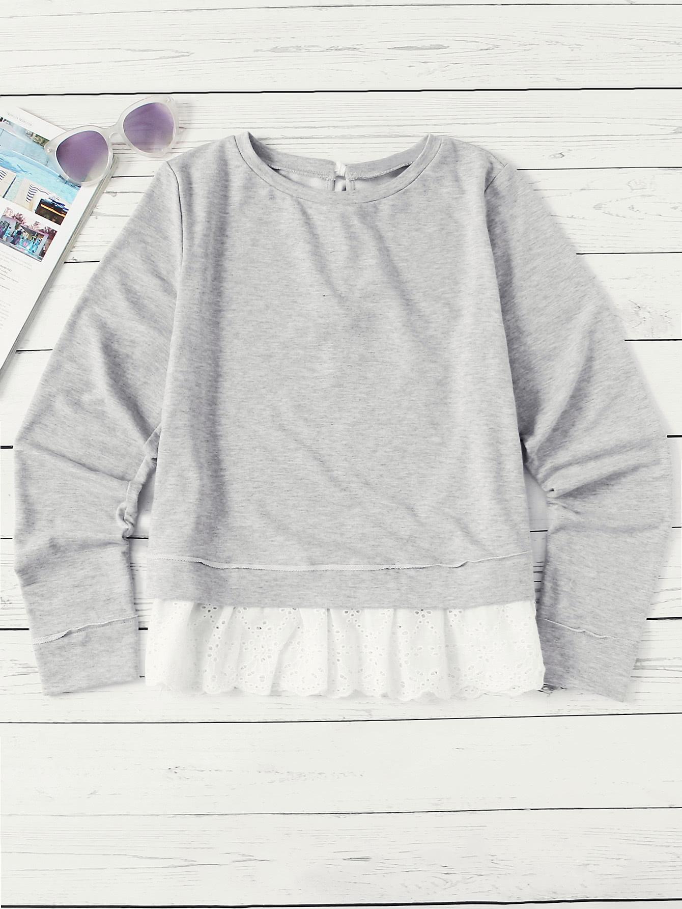 все цены на Eyelet Embroidered Ruffle Hem Tied Back Sweatshirt