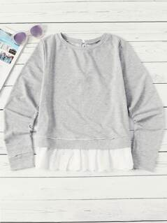 Eyelet Embroidered Ruffle Hem Tied Back Sweatshirt