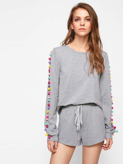 Colorful Pom Pom Sleeve Heathered Sweatshirt And Shorts Set