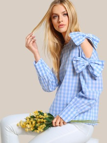 Exaggerate Bow Embellished Cutout Sleeve Gingham Blouse