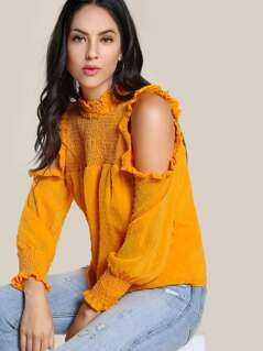Textured Cold Shoulder Shirred Top TANGERINE
