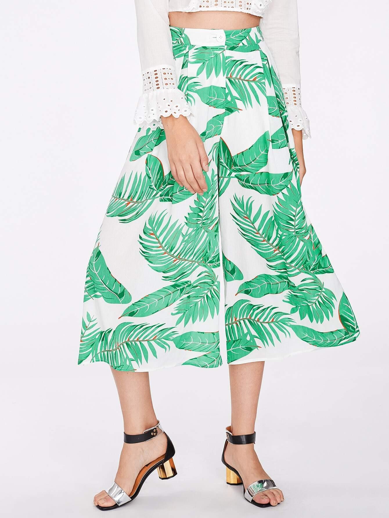 Jungle Leaf Print Fold Pleat Culotte Pants pants170711703
