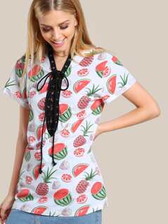 Allover Fruit Print Lace Up Plunging Cuffed Sleeve Dress