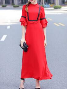 Bell Sleeve Flounce Maxi Dress