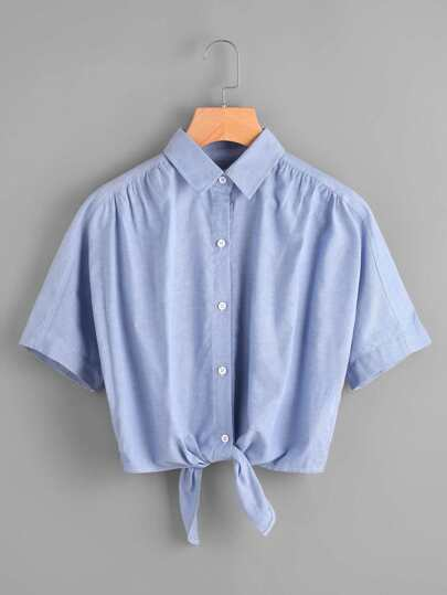 Tie Front Elasticized Back Shirt pictures