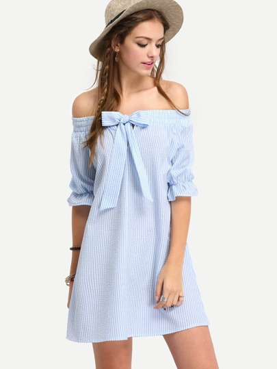Bardot Pinstripe Bow Detail Shift Dress