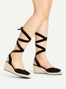 Cap Toe Tie Leg Woven Wedges