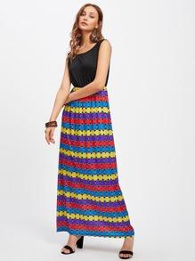 Colorful Dot Contrast Blouson Tank Dress