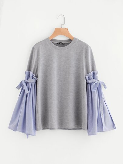 Belted Pinstripe Bell Sleeve Mixed Media Sweatshirt