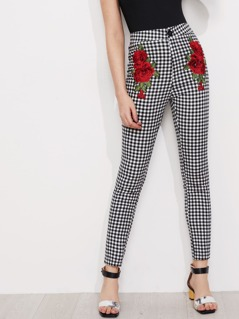 3D Rose Applique Skinny Gingham Pants
