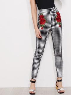 3D Rose Applique Skinny Gingham Pants