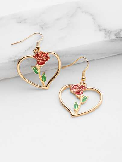 Rose Detail Heart Earrings