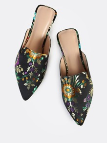 Oriental Print Backless Loafers BLACK