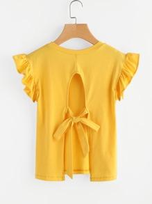 Split Tie Back Frill Sleeve Tshirt