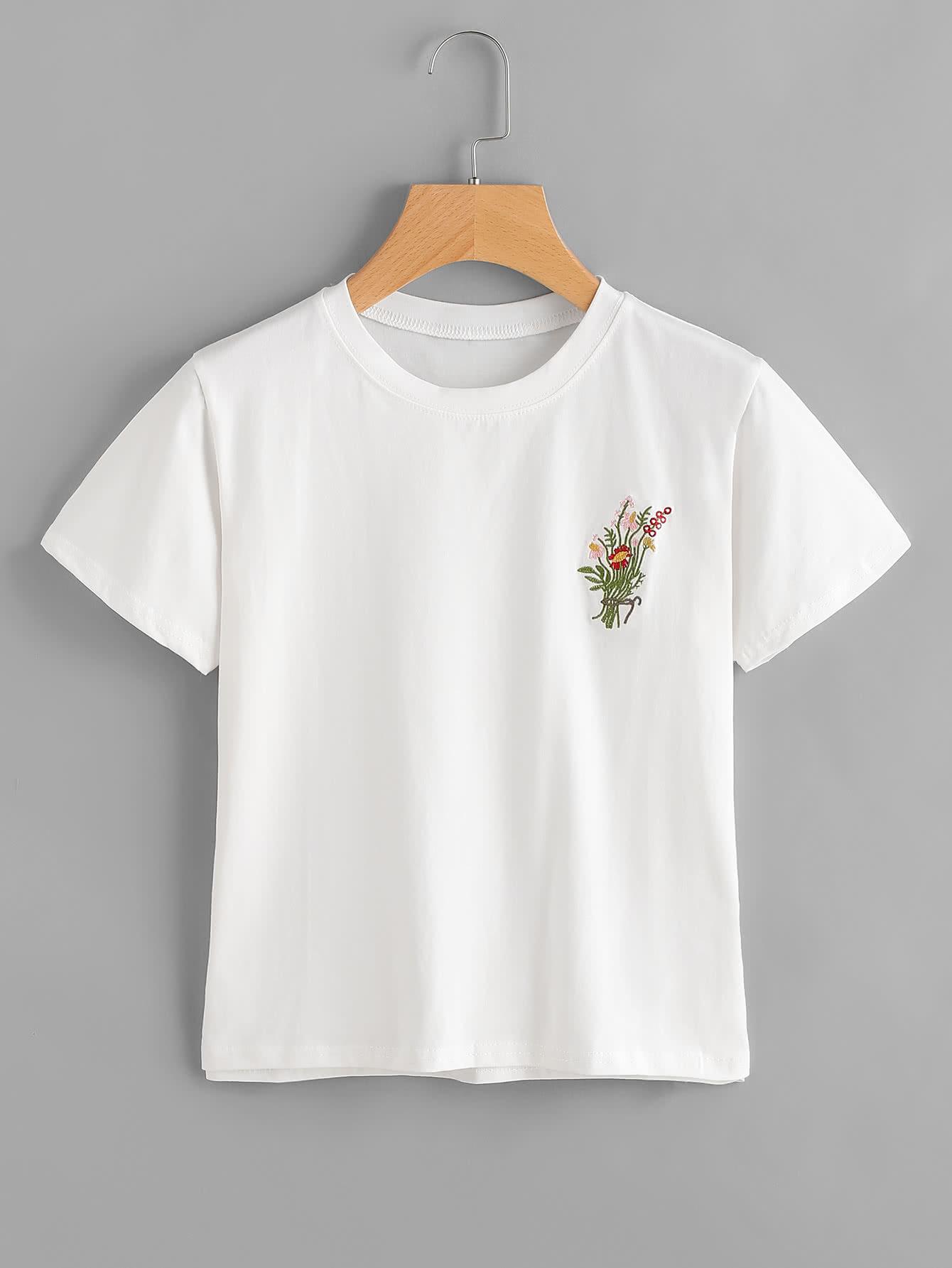 Фото Floral Embroidered Tee. Купить с доставкой
