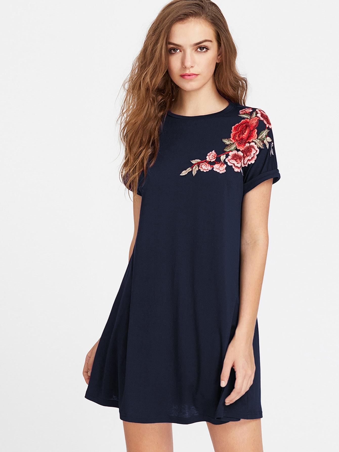 Embroidered Flower Applique Swing Tee Dress flower applique crop tee