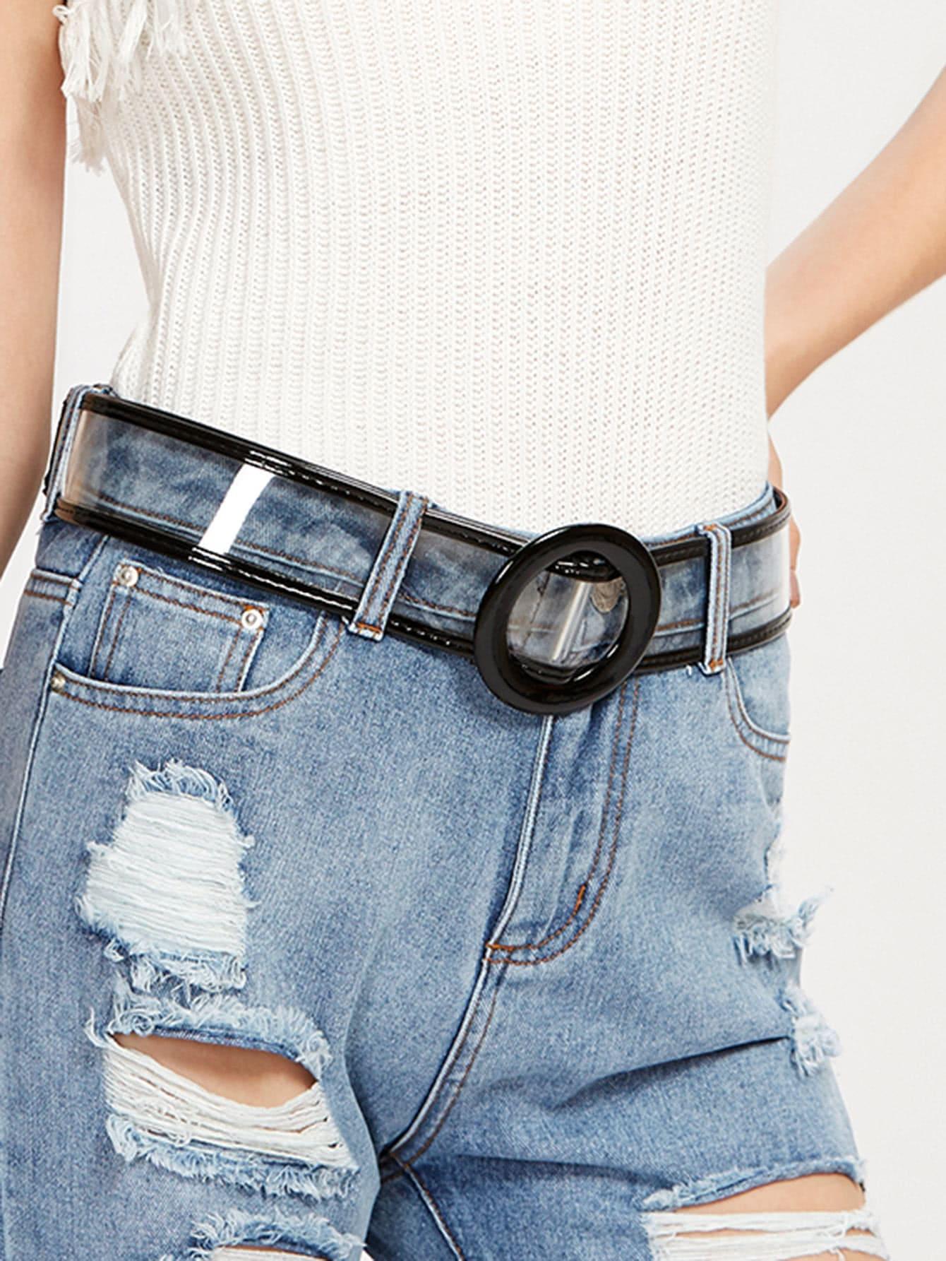 Фото Contrast Piping Clear Buckle Belt. Купить с доставкой