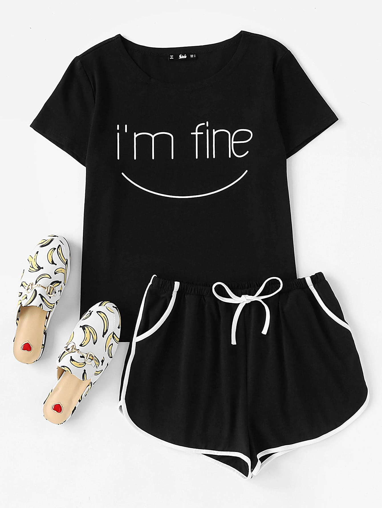 Letters Print Top And Dolphin Hem Shorts Pajama Set high low top and frill hem shorts pajama set