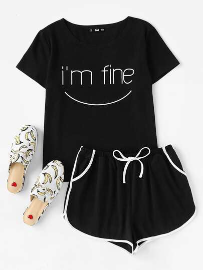 Letters Print Top And Dolphin Hem Shorts Pajama Set