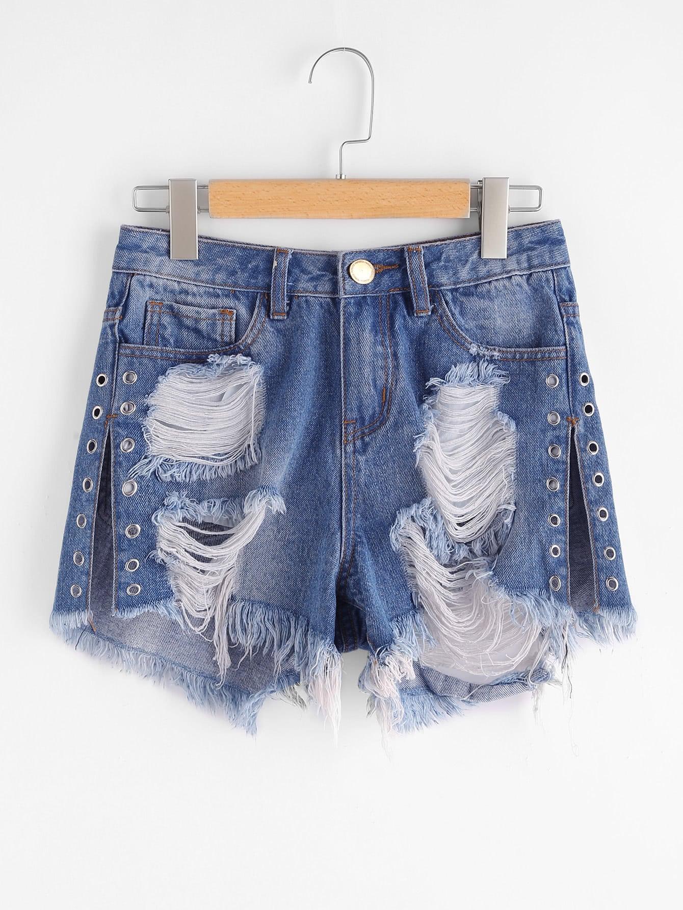 Фото Grommet Detail Slit Side Distressed Denim Shorts. Купить с доставкой
