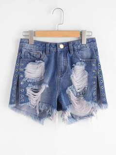 Grommet Detail Slit Side Distressed Denim Shorts