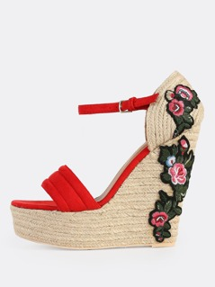 Floral Embroidered Wedges RED