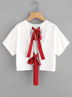 Polka Dot Bow Tie Back Crop Top