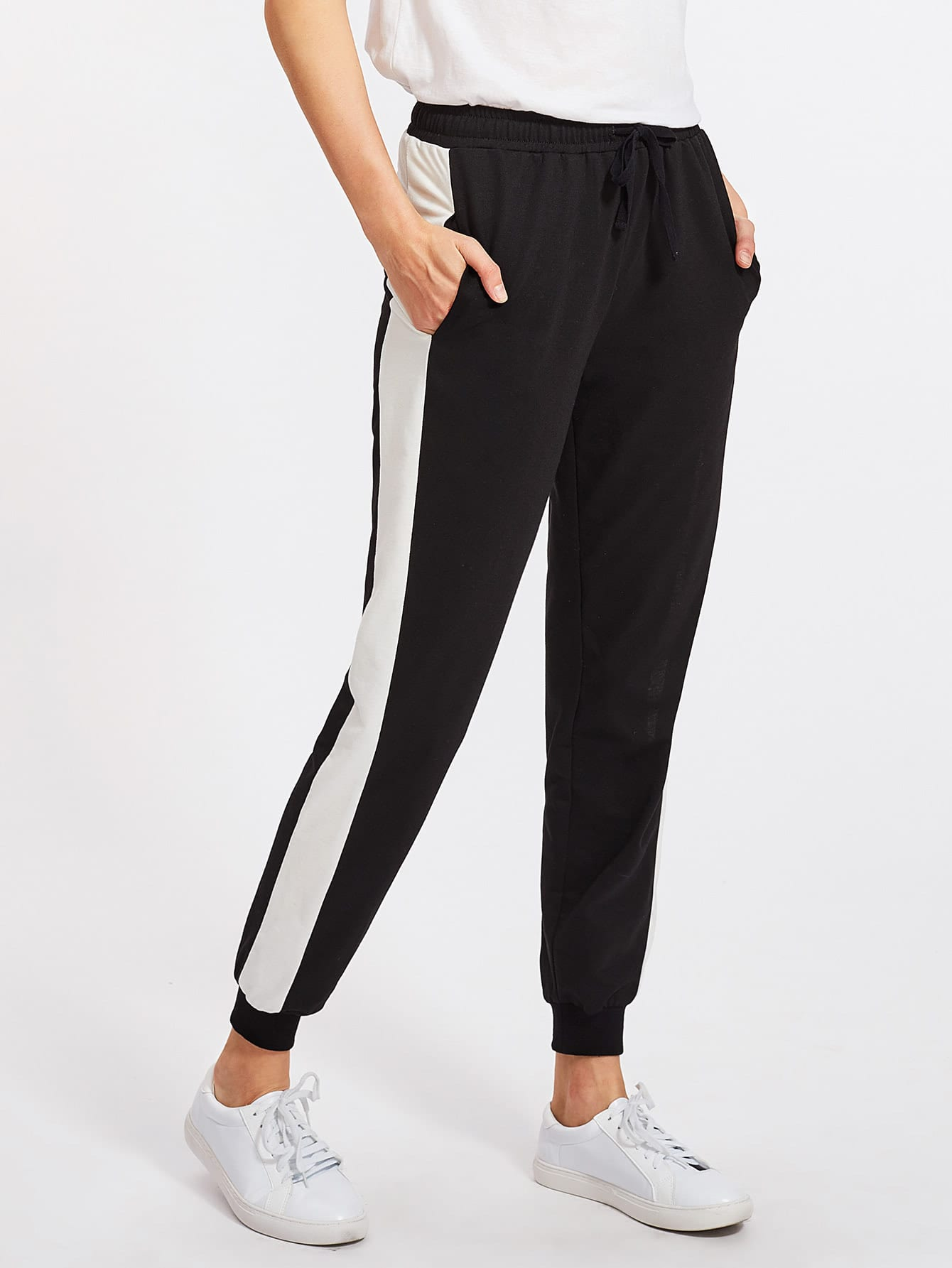 Image of Contrast Panel Tapered Sweatpants