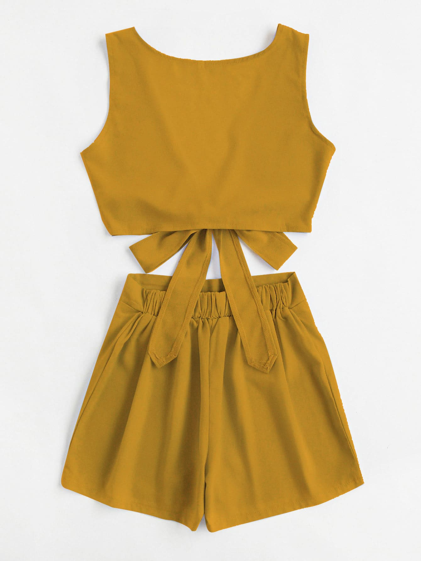 Knotted Multiway Crop Tank Top With Shorts