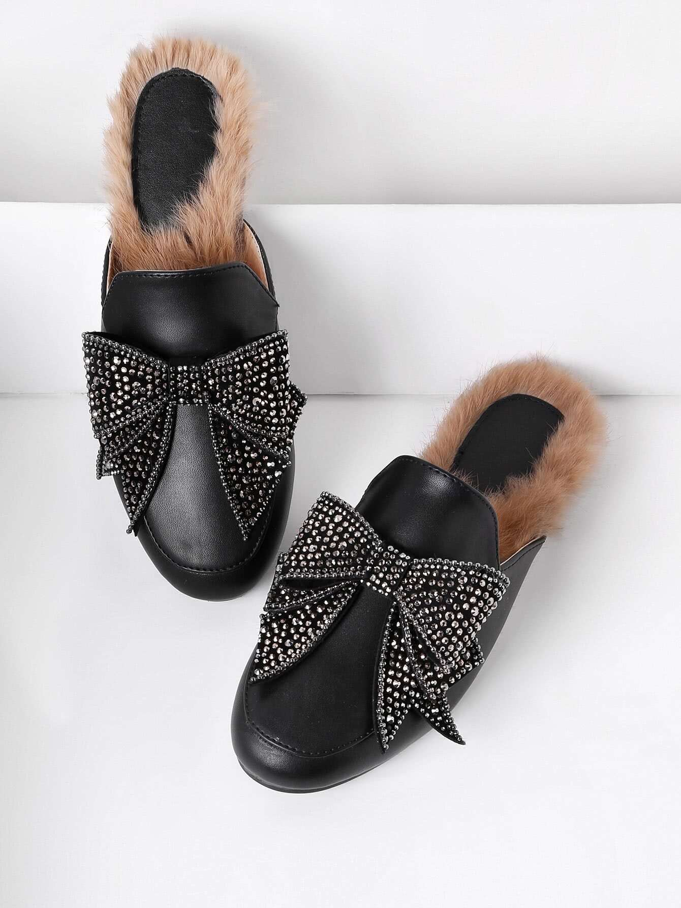Bow Tie PU Flat Mules With Faux Fur