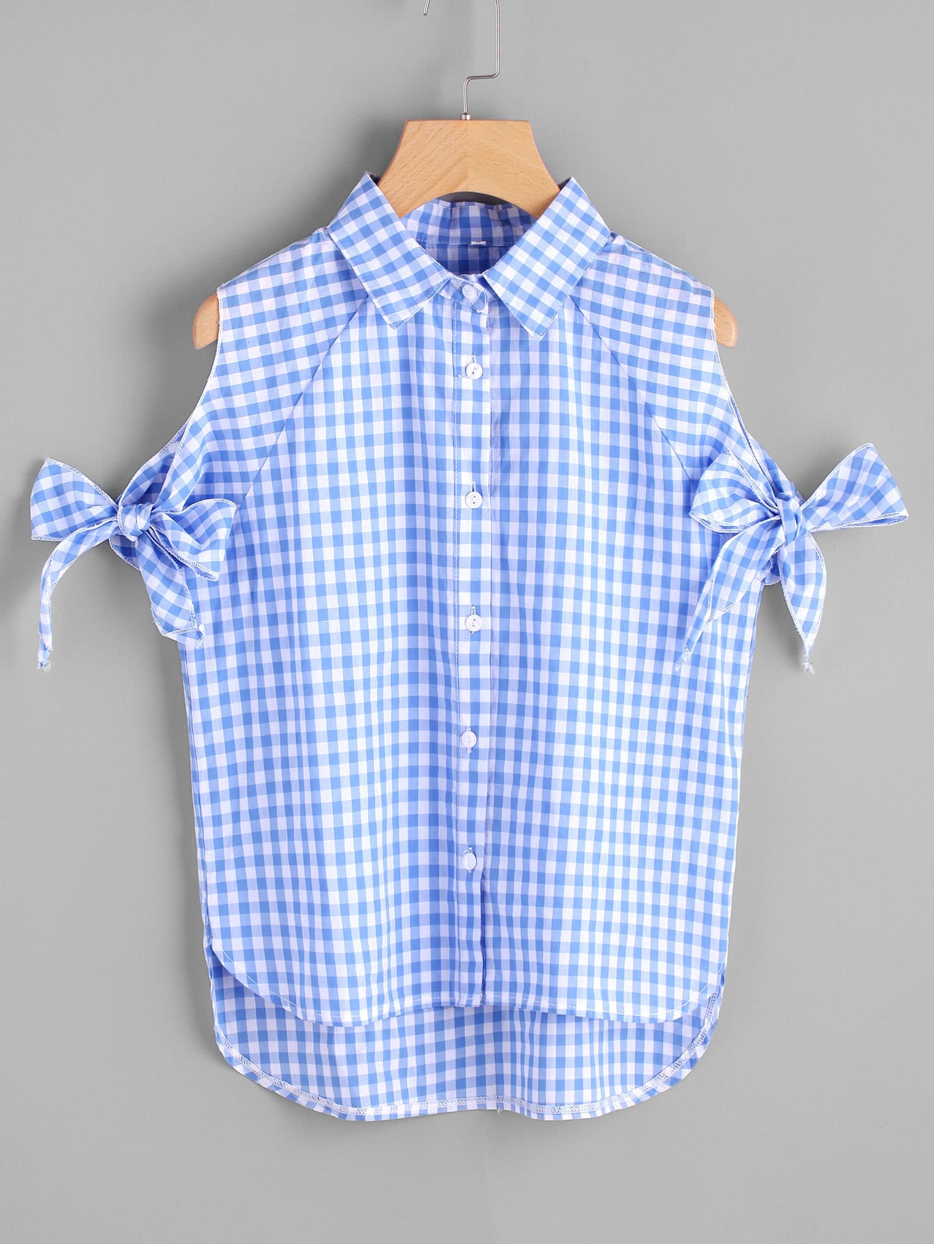Фото Self Tie Cutout Raglan Sleeve Gingham Shirt. Купить с доставкой
