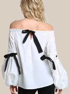 Puff Sleeve Tie Up Oversize Shirt WHITE