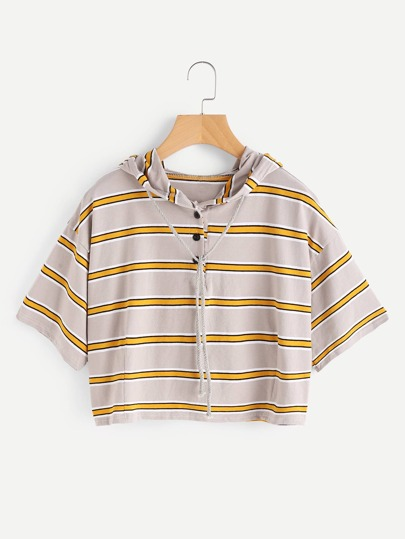 Drop Shoulder Striped Drawstring Hoodie