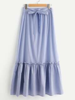 Self Belted Striped Tiered Hem Skirt