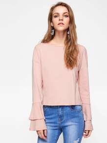 Drop Shoulder Layered Bell Sleeve Tee pictures
