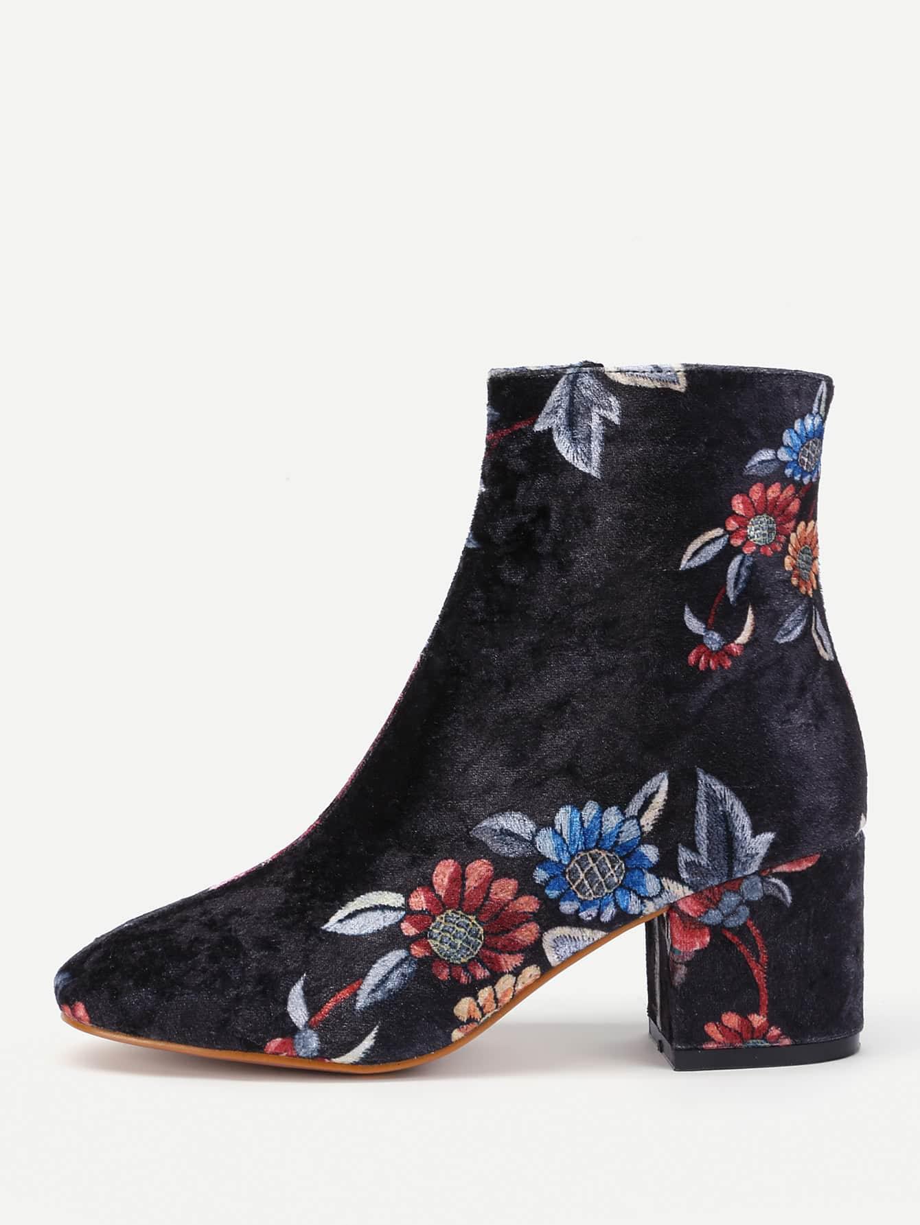 Фото Floral Print Side Zipper Ankle Boots. Купить с доставкой