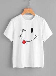 Smiley Face Print Tee