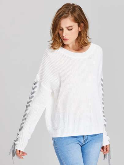 Drop Shoulder Lace Up Sleeve Jumper
