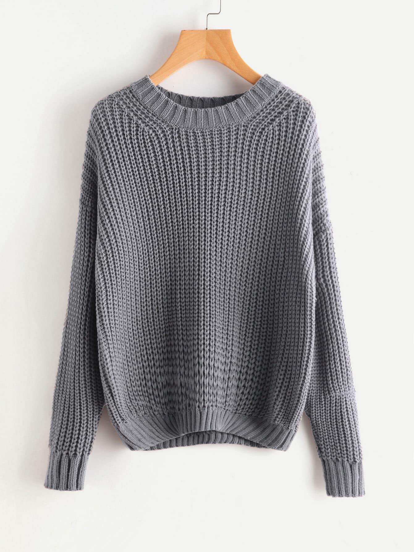 Ribbed Trim Drop Shoulder Jumper sweater170713465