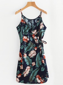 Floral Leaf Print Wrap Self Tie Cami Dress