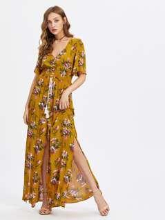 Tasseled Tie Smocked Waist Slit Dress